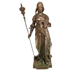 Large Bronze Statue Jeanne d'Arc 19th Century