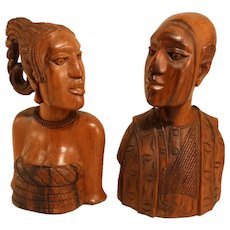 Pair Of Balinese Carved Wooden Art Deco Sculptures.