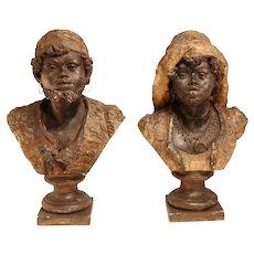 Stunning Pair of Antique Orientalist Busts