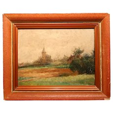 Lovely Oil On Mahogany Panel From 1889.