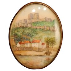 Miniature Landscape Watercolor In Oval Frame