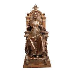 Antique Bronze Sculpture Pope Leo XIII From 1870