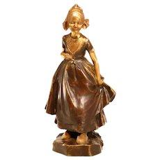 Stunning Antique Bronze Sculpture Of A Breton Girl