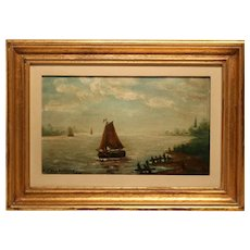 Lovely Small Marine Oil On Panel 19th Century