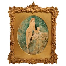 Lovely Watercolor with Nude Lady Dated 1872