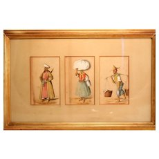 Three Oriental watercolor Portraits in Lovely Frame
