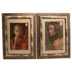 Two Stunning Portraits Oil On Board