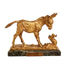 Lovely Antique Bronze Sculpture Depicting A Donkey And a Hare