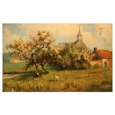Belgian Impressionist Oil Painting From 1916