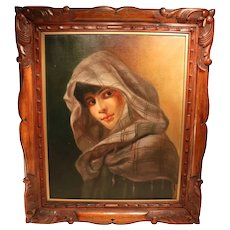 Lovely Oil On Canvas Depicting A Gypsy Girl
