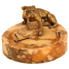 Lovely Antique Marble Vide-Poche With Bronze Bulldog