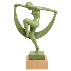 Wonderful Green Patined Bronze Nude Art Deco Dancer