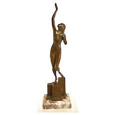 Exquisite Bronze Art Deco Nude Statue From 1925
