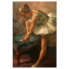 Ballerina In Oil On Canvas