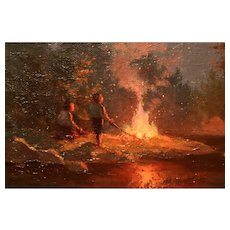 Amazing Oil On Canvas Depicting A Campfire 1942