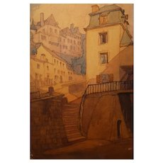 Stunning Watercolor Of Luxembourg From 1935