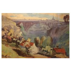 Stunning Watercolor Of Luxembourg From 1924