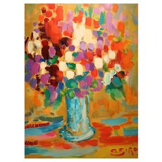 French Still Life In Oil On Board Fauvist Style