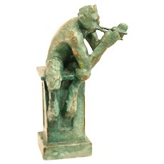 Green Glazed Antique Earthenware Figurine Flute Playing Faun