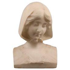 Antique Alabaster Bust Of A Girl
