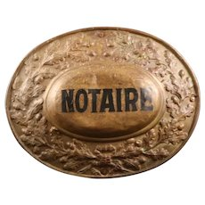 Antique French notary's sign