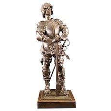 19th Century Bronze Statue Of A Knight In Armor