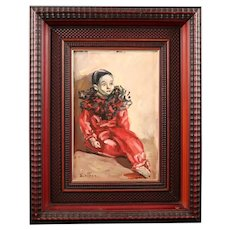 Beautiful Panel With Pierrot In Oil Paint