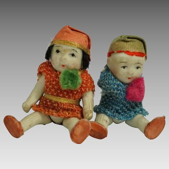 Vintage BISQUE DOLLS 1920s Tiny Japanese Boy and Girl Jointed Arms/Legs