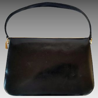 Midcentury Smooth Black Leather Purse - Red Leather Interior - Stunning!