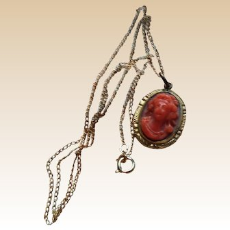 LOVELY Vintage Coral Colour Cameo with Gold Filled Chain