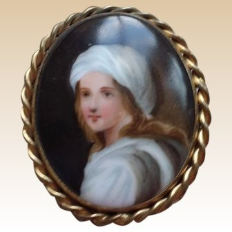 NICE Vintage Porcelain Portrait Pin of Young Boy