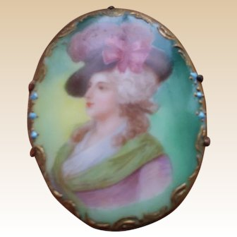 BEAUTIFUL Antique Porcelain Pin w/ Lithographed Lady