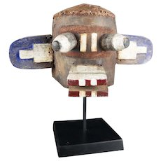 OLD! From Late 19th To Early 20th C. LEATHER - Wooden Kachina HELMET, Hopi - Antique