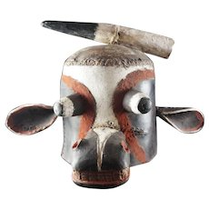 From Early To Mid 20th Century Hard LEATHER Kachina Cow HELMET, HOPI