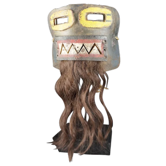 Old Kachina Hopi Leather MASK - Native American, With HUMAN HAIR