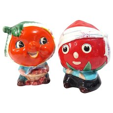 Mid Century Fruit Heads Planters Vintage Anthropomorphic Strawberry and Orange