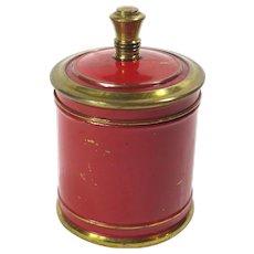 Vintage Chase Brass Red Enameled Covered Jar Art Deco Cigarette Server Tobacco Holder