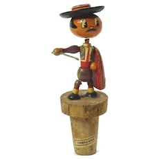 Mid Century Portugal Matador Bottle Stopper Bull Fighter Figural Wood and Cork Stopper BarWare