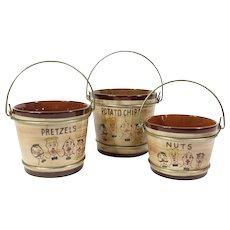 Mid Century Barbershop Quartet Snack Set Pennsbury Pottery Sweet Adeline Snack Bowls