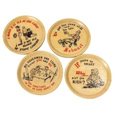 Set of 4 Mid Century Funny Wood Coasters Vintage 1950s 1960s Barware Cocktail Coasters