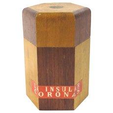 Vintage Imperial Cigars Manila Humidor La Insular Coronas Two Tone Wood Hexagon Tobacco Keeper