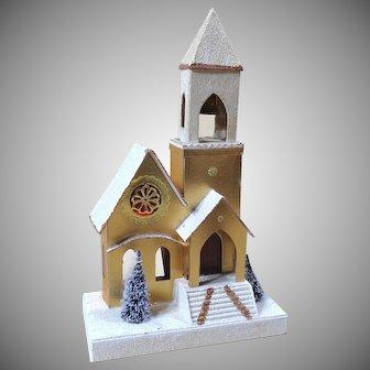 Vintage Mid Century Putz Mica Musical Church Christmas Decoration