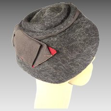Brown Felted Wool Cloche Style Hat Vintage Jewel One Hat with Large Bow