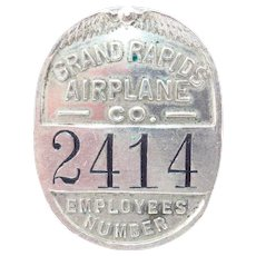RARE Grand Rapids Airplane Company Employee Badge Vintage WWI 1910s Employee Identification