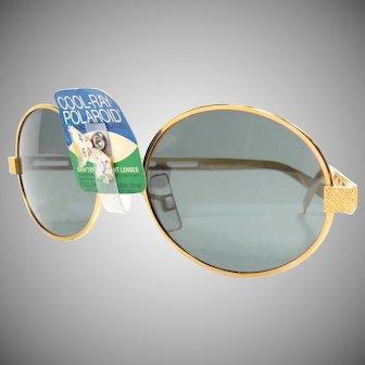 Vintage 1960s Oval Frame Cool-Ray Polaroid Sunglasses Green Lens Retro Sunglasses with Original Tag