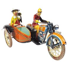 Paya Motorcycle with Side Car Vintage Tin Wind-up Toy 1990s Paya Historical Collection Remake