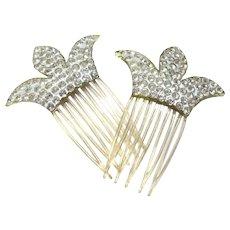 Vintage Pair Fleur De Lis Celluloid Lucite / Rhinestone Decorative Hair Combs