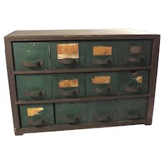 Large Wood Primitive Tool Chest of Drawers Vintage Rustic Decor 12 Drawer Storage Box Farmhouse Chic Cabinet