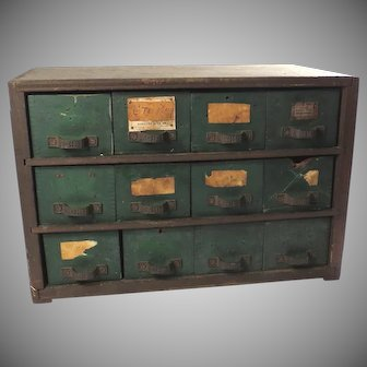 Vintage Primitive Wood Tool Chest of Drawers Farmhouse Chic Cabinet