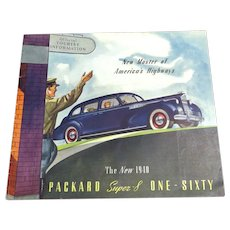 1940 Packard Super-8 One-Sixty Sales Brochure Vintage 1940s Automobilia Collectible Car Brochure